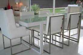 Frosted Glass Dining Table And Chairs Glass And Metal Dining Set Dining Room Ideas With Regard To Glass