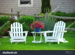 Green Outdoor Chairs Two Lawn Chairs Beautiful Garden Near Stock Photo 1536115