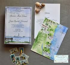 St Augustine Map Wedding Invitation Suite Watercolor Invitations Florida