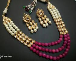 pearls necklace set images Buy traditional craftbazar kundan and onyx pearl necklace set online JPG
