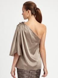 one shoulder blouse lyst elie tahari one shoulder silk charmeuse blouse in