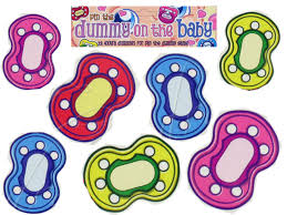 pin the dummy pacifier game baby shower party neutral 12 players