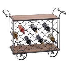 shop woodland imports 35 bottle brown and black freestanding floor