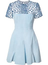 alex perry sheer panel flared dress blue women clothing cocktail