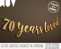 70th birthday banner 70 years loved Glitter banner 70th