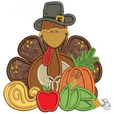 turkey thanksgiving applique machine embroidery design digitized