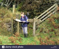 Devon England Map by Challacombe Devon England Uk October A Woman Map Reading On The