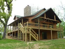 brilliant wrap around porch log cabin using wooden porch handrails