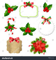 christmas labels set red bow stock vector 707443822