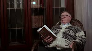 Old Rocking Chair Old Man With Glasses Grandfather Reading Book Aloud In The Rocking