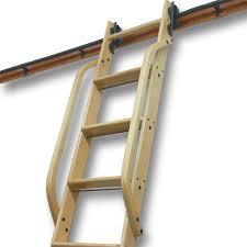 Sliding Bookshelf Ladder Quiet Glide Wooden Library Ladder Hand Rail 16 Kitchen Brass
