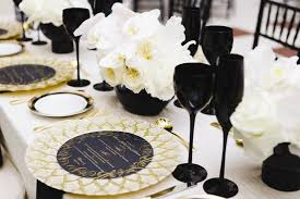 black and white table settings black gold and white table setting