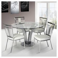 cleo contemporary dining table stainless steel clear glass armen