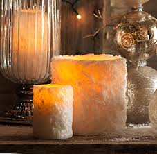 3 x 4 inch white heavy textured led battery operated candle