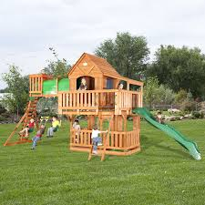 cedar swing sets triumph play bailey wooden swing set with tire