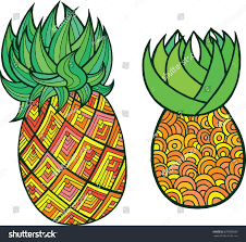 pineapple coloring page graphic raster colorful stock illustration