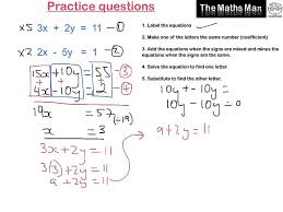 solving simultaneous equations by elimination practice questions
