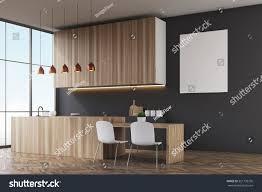 Interior Of A Kitchen Side View Kitchen Black Walls Wooden Stock Illustration 551793736