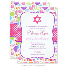 bas mitzvah invitations candy bat mitzvah invitations print creek studio inc