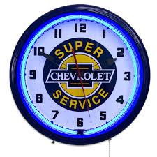 Chevy Home Decor Chrevolet Super Service Neon Lighted Clock Chevy Garage Clocks
