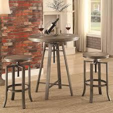 Bar Table And Stool Set Coaster 10181 Three Piece Adjustable Height Pub Table And Stool