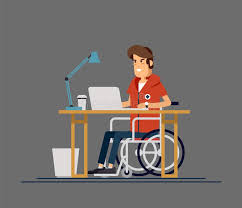 under the table jobs for disabled disabled young man in wheelchair working with computer productive