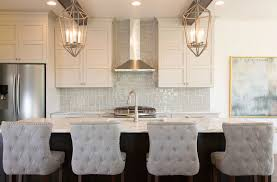 light grey glass tile backsplash painting pine kitchen cabinets
