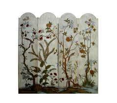 Nautical Room Divider White Veneer Flower Bird Floor Screen Room Divider Cs761