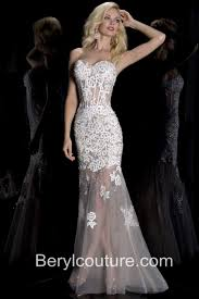 mermaid sweetheart neckline see through white tulle lace beaded