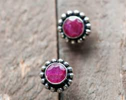 ruby stud earrings ruby stud earrings etsy