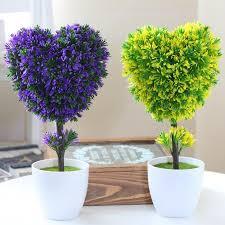 Home Decor Artificial Trees Hyson Shop Fake Mini Bonsai Pot Planter Heart Shape Plants Small