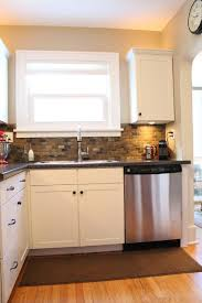 New Cabinet Doors Lowes Small Kitchen Remodel Featuring Slate Tile Backsplash Remodelaholic