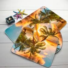 Palm Tree Bathroom Rug 3pcs Bathroom Mat Set Palm Trees Pattern Bath Mat