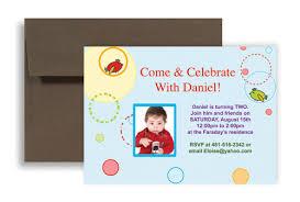 two year boy baby blue birthday invitation wording 7x5 in