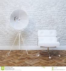 White Wall by White Walls Brick Interior With Classic Leather Armchair Stock