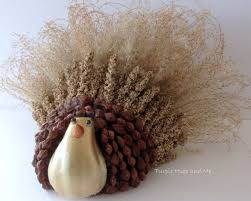 handcrafted thanksgiving turkey using ornamental grasses and