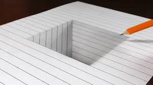 writing on lined paper how to draw a square hole in line paper 3d trick art youtube how to draw a square hole in line paper 3d trick art
