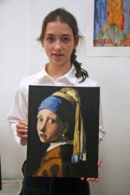 vermeer the girl with the pearl earring painting copies a vermeer painting in acrylics in an after school