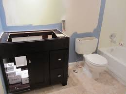 small bathroom remodel ideas on a budget christmas lights decoration bathroom project new cabinet and partial blue painting renovation in progress