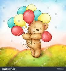 teddy balloons teddy colorfull balloons on green stock illustration