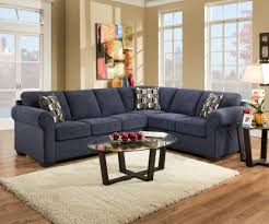 Oval Glass Table Inspiring Sectional Couches With Dark Blue Microfiber Sofas Decor