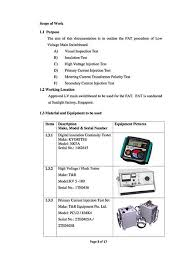 acceptance test report template procedure for lv switchboards