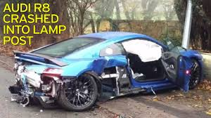 audi r8 slammed 205mph audi r8 supercar worth 120k destroyed after crashing into