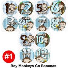 baby month stickers monthly onesie stickers boy monkey baby