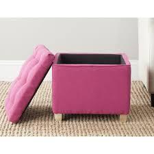 Pink Storage Ottoman Safavieh Joanie Berry Pink Tufted Storage Ottoman Ebay