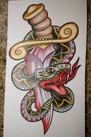 traditional design 44 snake and dagger tattoos ideas
