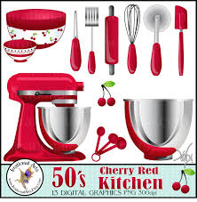 50 u0027s cherry red kitchen digital clipart graphics 13 gorgeous