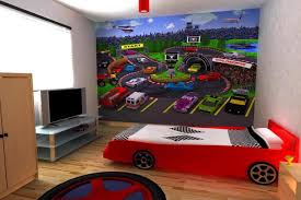 race car themed feature wall boys room interior design ideas
