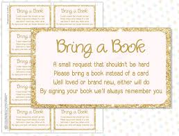 bring a book instead of a card baby shower bring a book instead of a card pink gold instant
