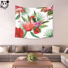 tappezzeria pareti casa peiyuan pianta verde e pink flamingo appeso a parete di stoffa